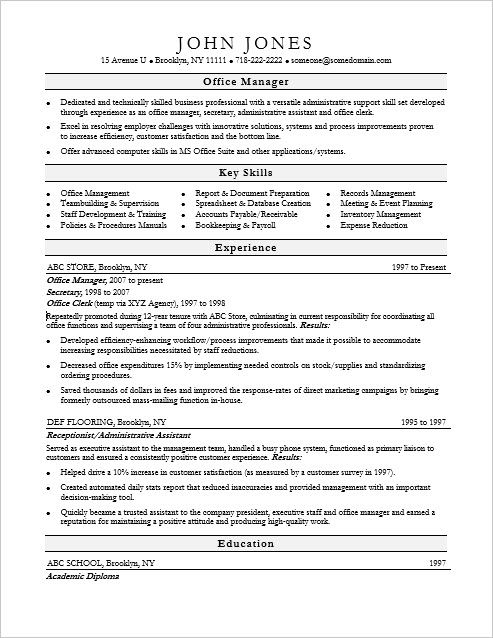 Assistant Manager Resume Format Prepossessing Office Manager Resume Sample  Sample Resume