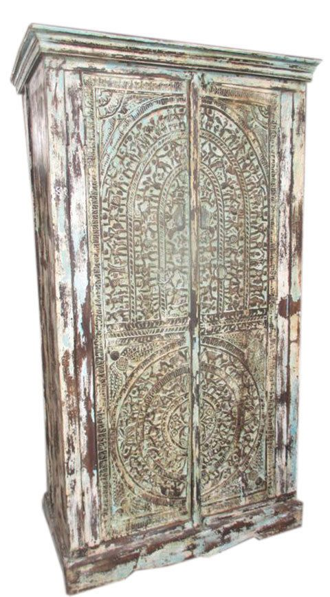 Armoire Wooden Cabinet Antique Cabinet Tribal Hand Carved India Furniture