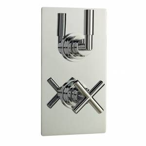 Helix Thermostatic Twin Shower Valve With Built In Diverter 2