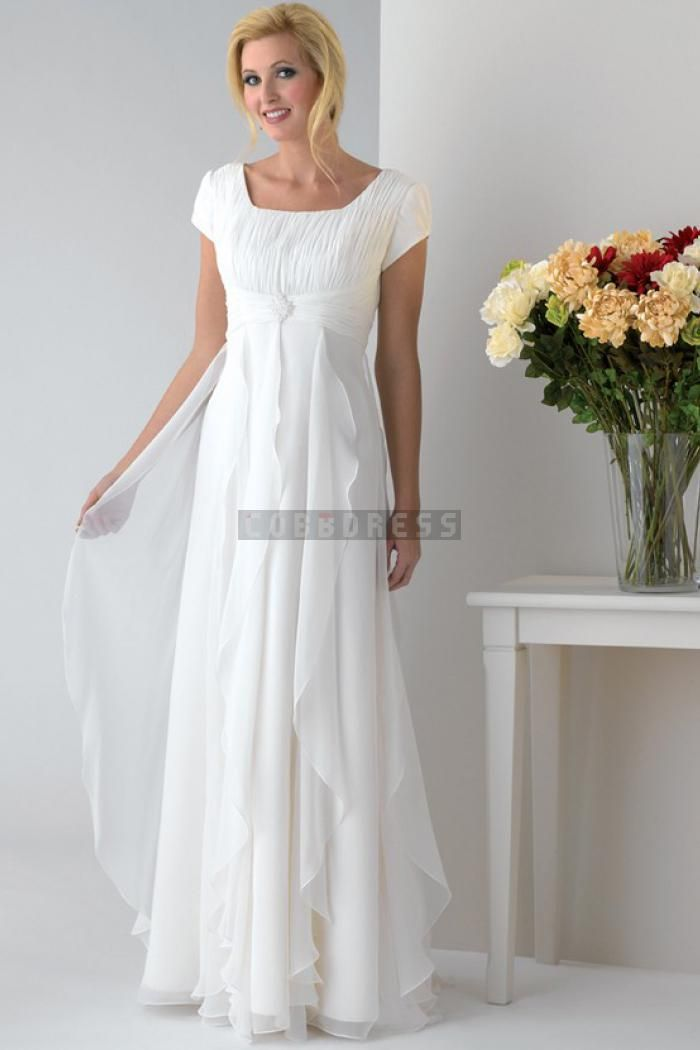 Square Neck A-line White Cap Sleeves Mother Of The Bride Dress