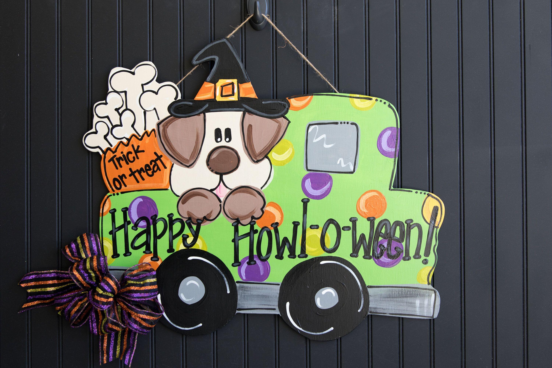Halloween Door Hanger Trick Or Treat Door Hanger Old Truck Etsy Halloween Door Halloween Door Hangers Door Hangers