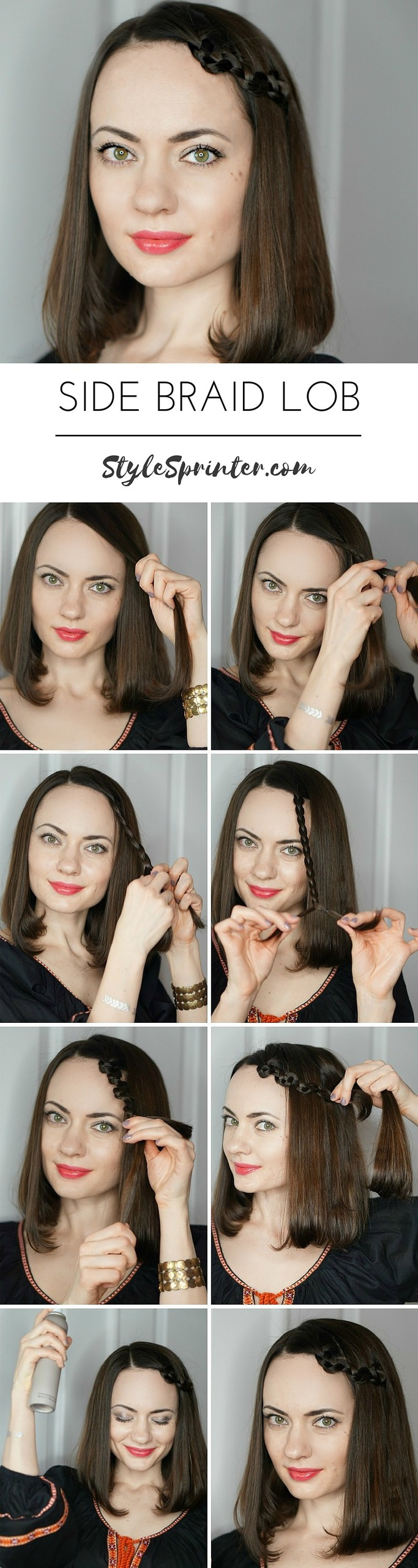 Side Slide-Up Braid Tutorial: http://stylesprinter.com/two-easy-ways-to-style-a-lob/ #hairstyle #bbloggers #hair