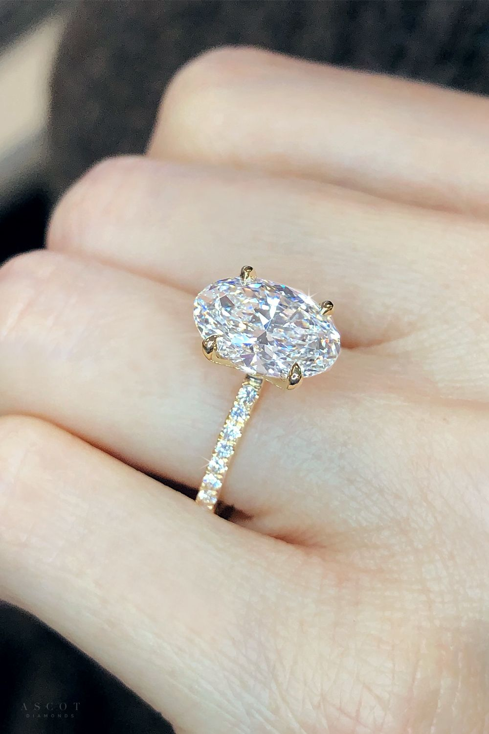 Custom created yellow gold diamond solitaire engagement ring. Feauturing a stunning oval cut lab grown diamond center. From the Ascot Diamonds collection.   #ascotdiamonds #ascotdiamondsatlanta #ovalcut