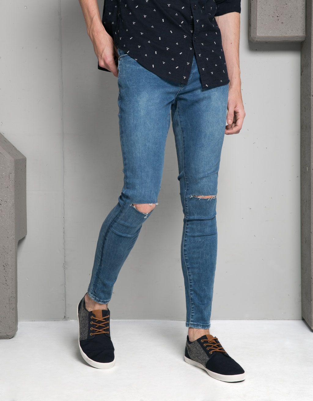Jeans Hombre Hombre Bershka Espana Skinny Vaqueros Pitillo Jeans Hombre