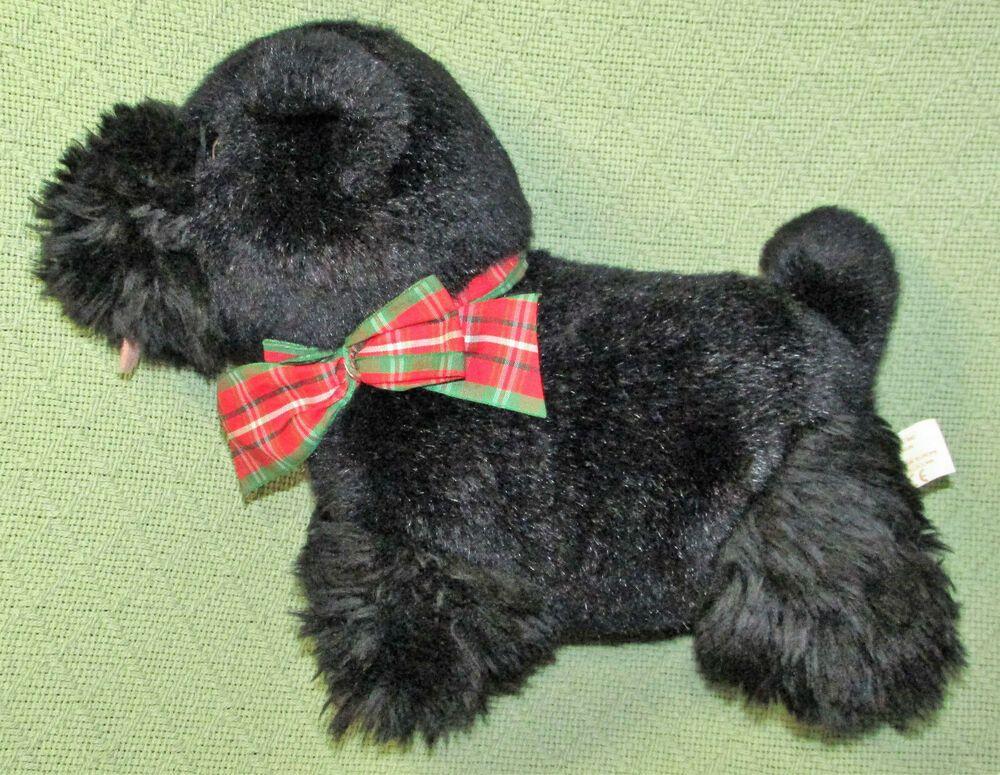 Vintage Chosun Black Dog Scottish Terrier Suffed Animal Plaid