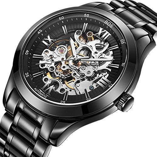 BOS Men's Automatic self-wind mechanical Pointer Skeleton ...