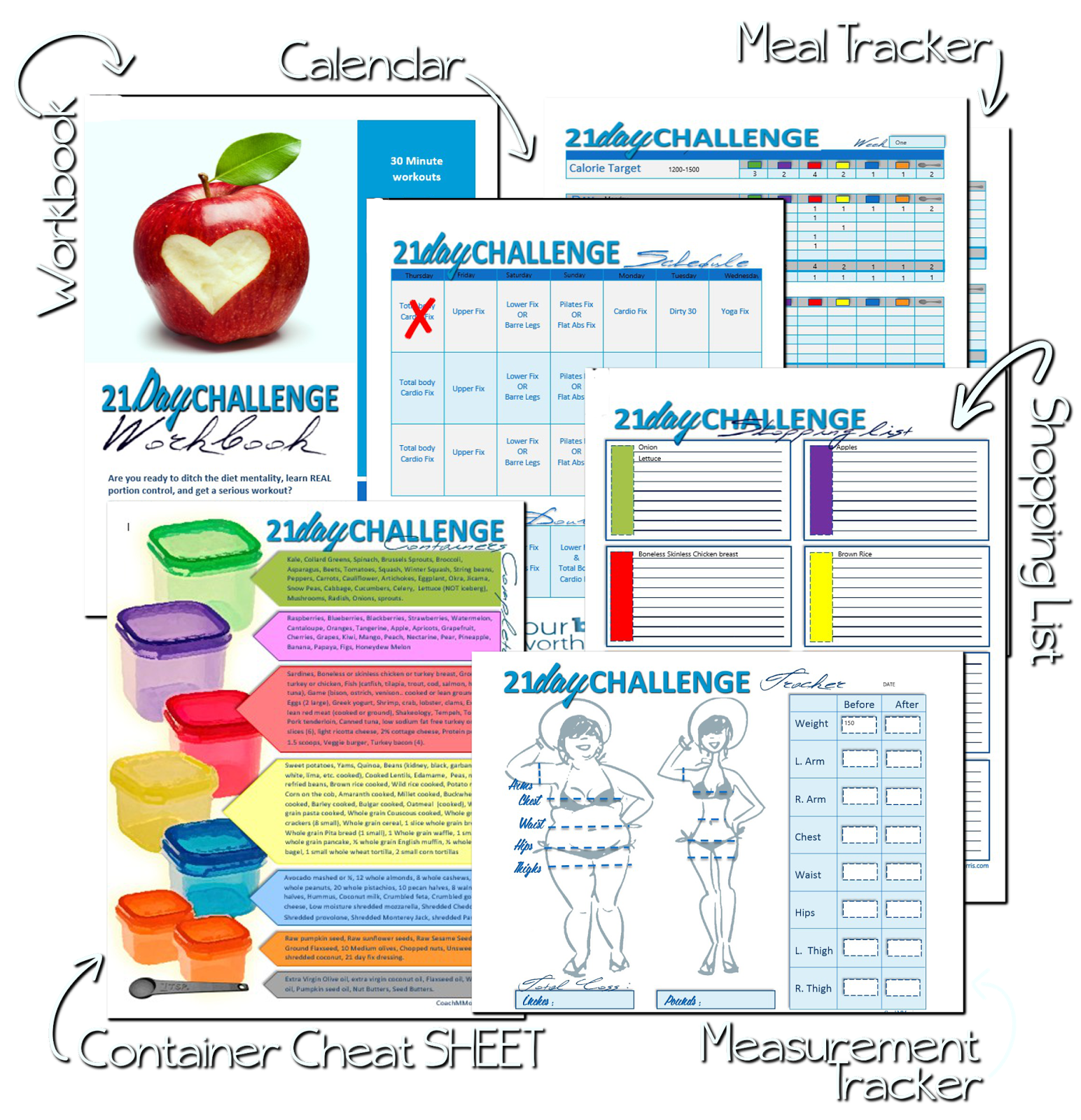 21 Day FIX Workout Starter Kit! Editable Meal Tracker