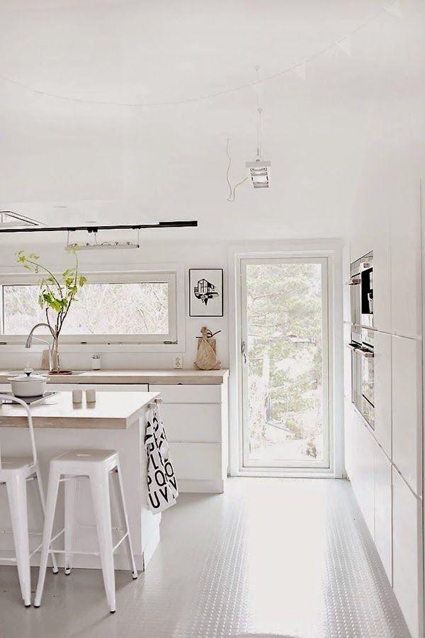 ideas-deco-como-decorar-cocinas-blancas cocina Pinterest