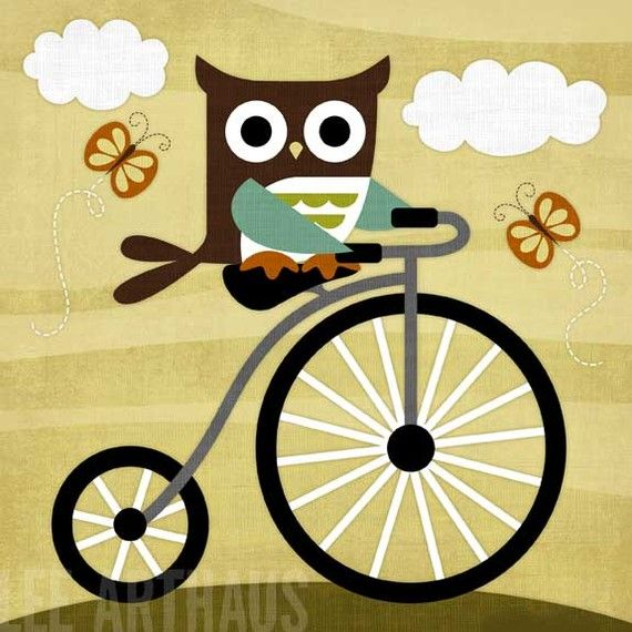 Retro Owl on Bicycle