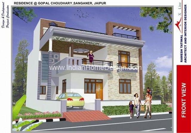 modern north indian style 3d house exterior views free house plans rh pinterest es