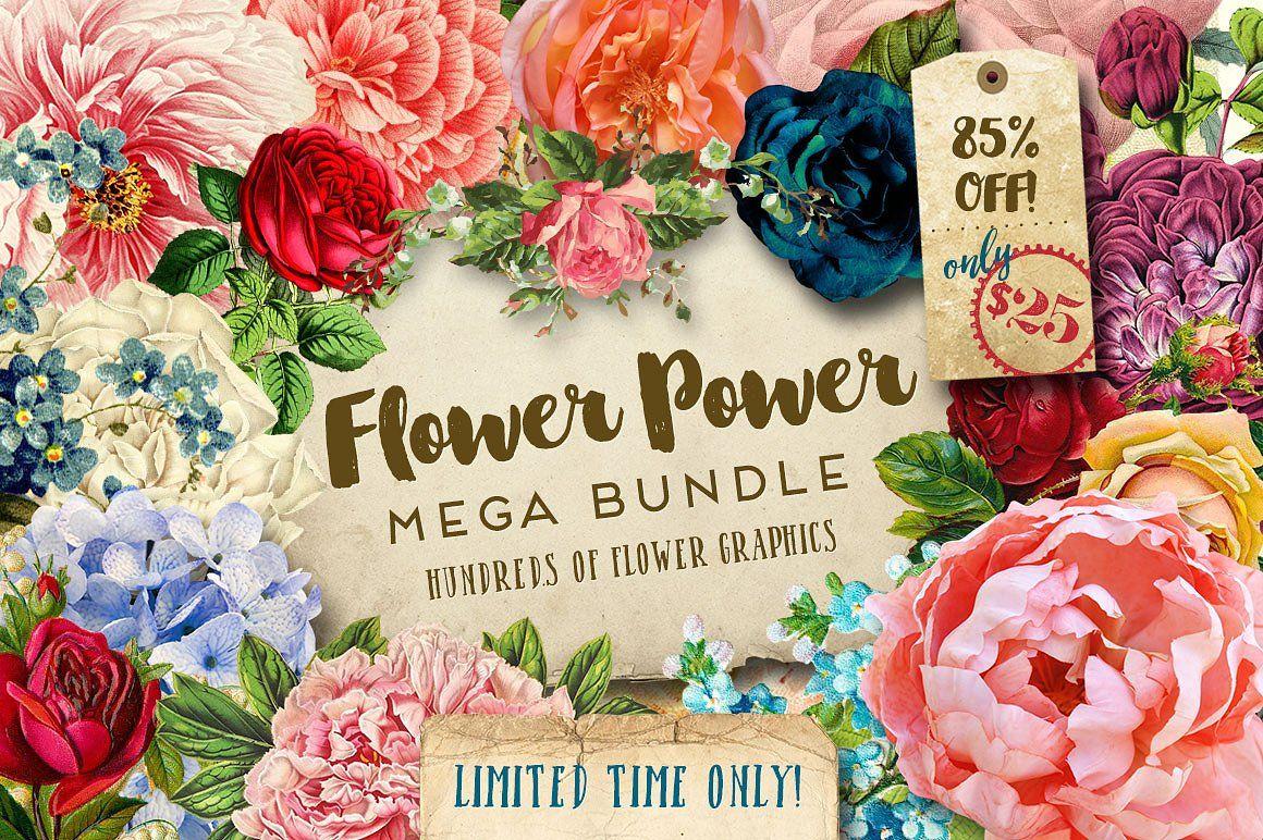 Flower Power Mega Bundle Vintage Graphics Flower Power Creative Market