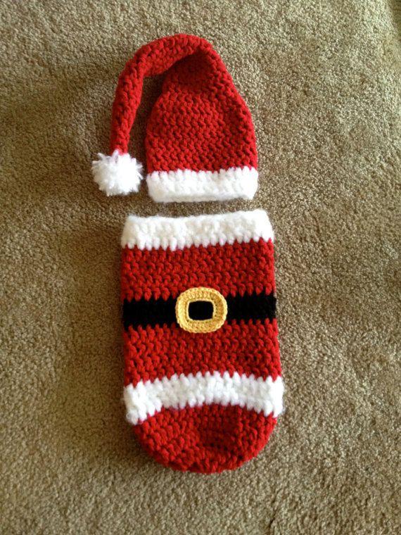 Crochet Christmas Santa Hat and Cocoon Set, Newborn Baby Photo Prop ...