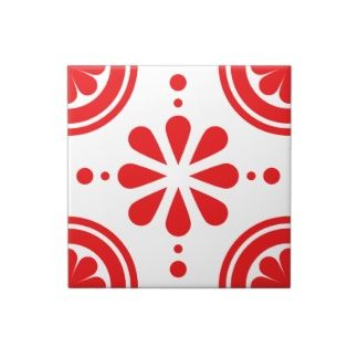 Simple Red Floral Scandinavian Pattern Tile