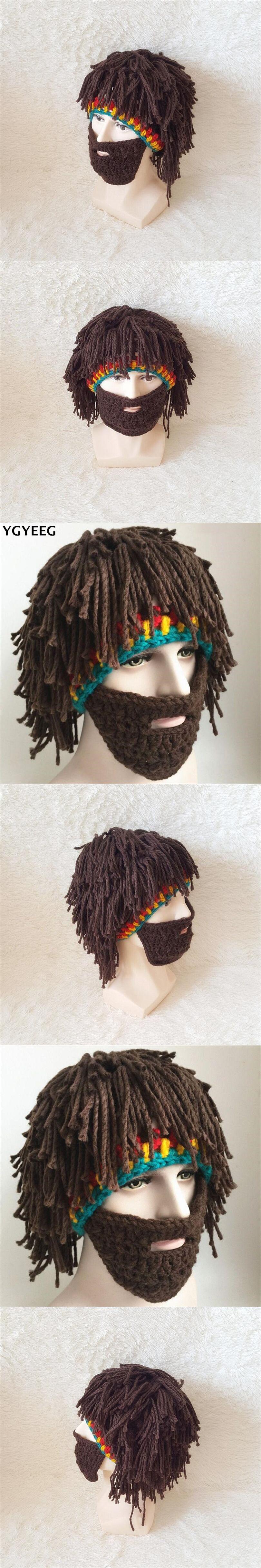 fd8817f3a33 YGYEEG Wig Beard Hats Hobo Mad Scientist Caveman Handmade Knit Warm Winter  Caps Men Women Halloween