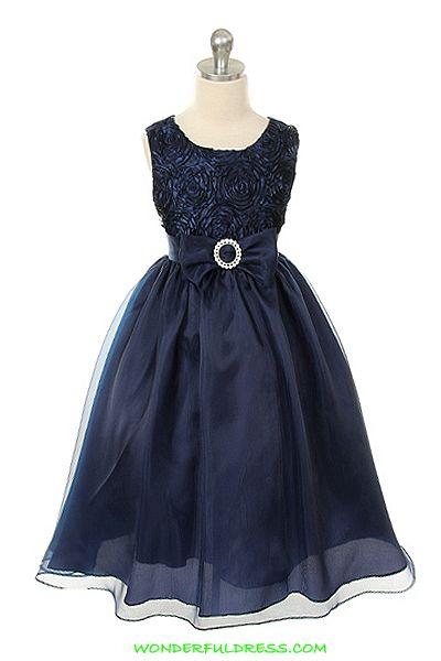 Winter flower girl dress      Navy Blue Horizontal Striped Bodice Girl Dress
