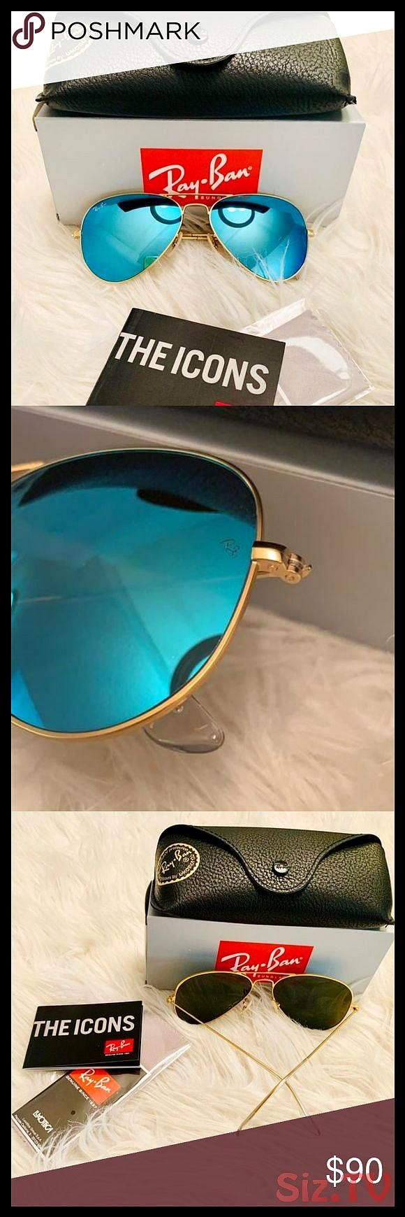 NWT Ray Ban Flash Aviator Turquoise color NWT Ray Ban Flash Aviator Turquoise color Matte Gold metal frame New with tags Size 58mm Unisex All accessNWT Ray Ban Flash Avia...