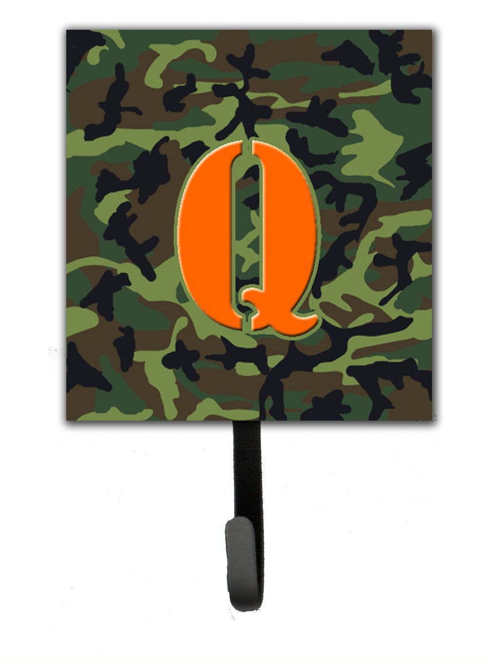 Letter Q Initial Monogram - Camo Green Leash Holder or Key Hook