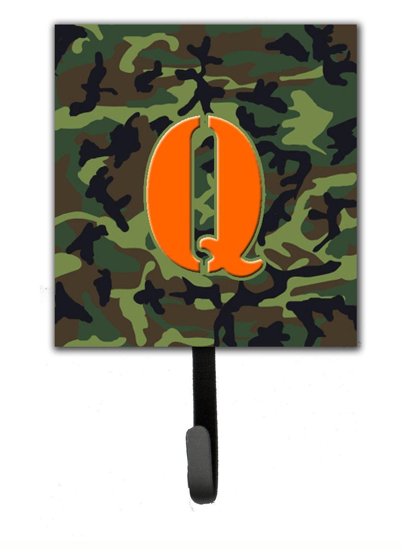 Letter Q Initial Monogram - Camo Green Leash Holder or Key Hook