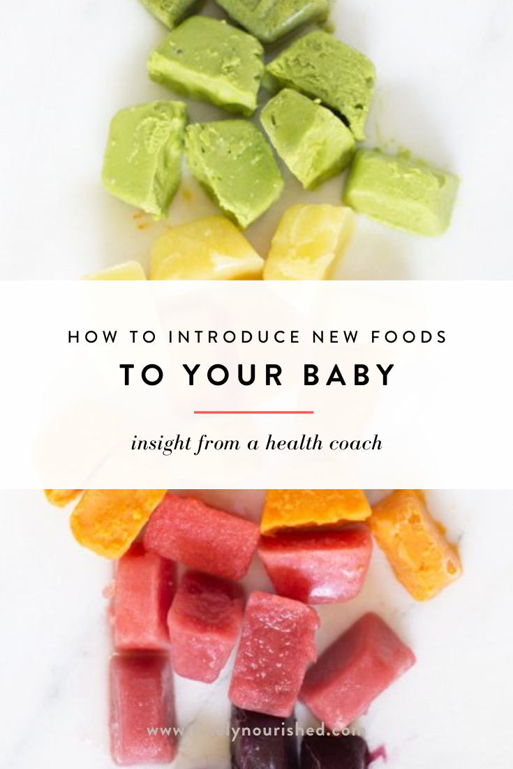 When transitioning your new baby over to solid foods, it's important to be mindful of how, and when, we introduce allergenic foods. What's the timeline for introducing new solid foods? What foods are consider a risk for developing allergies? I've broken it all down, plus my step-by-step process I share with all my clients! #solidfoods #foodallergies #babyfoodideas #healthybabyfood #blw #babyweaning #nourish