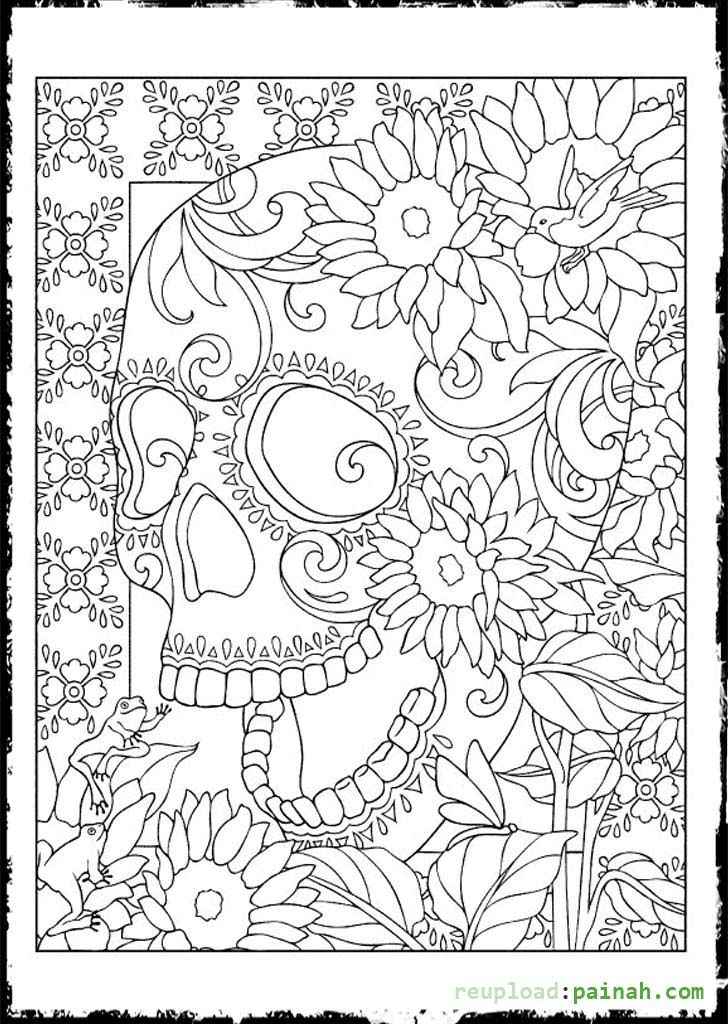 day of the dead sugar skulls coloring pages | crafts | pinterest ... - Coloring Pages Roses Skulls