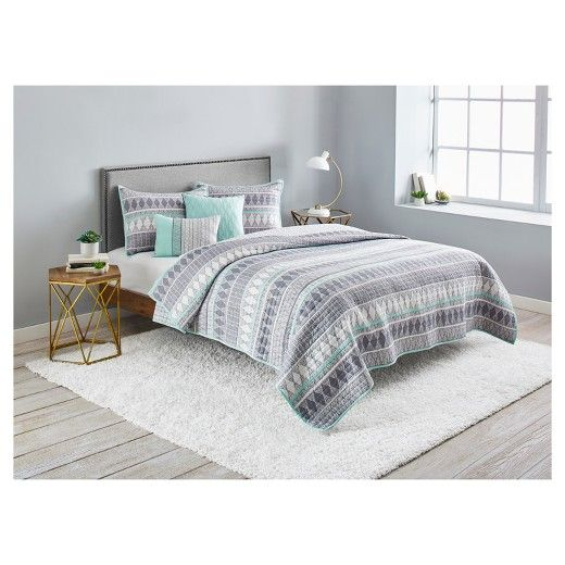 Gray Dayton Geometric Microfiber Quilt Set - 5-pc Quilt bedding