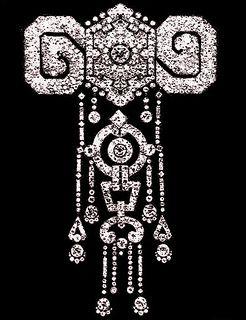 Queen Victoria Eugenia's Cartier Diamond Stomacher.    Diamond and platinum stomacher by Cartier Paris