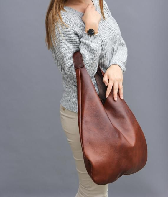 Cognac LEATHER HOBO Bag BROWN Oversize Shoulder Bag  685796d497e62