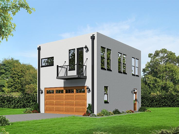 062g 0084 modern 2 car garage apartment plan great pin for Garage apartment plans modern