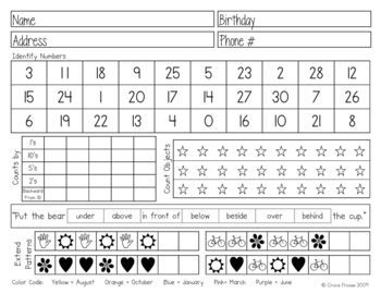 Preschool Assessment Form  Assessments Progress Reports Report