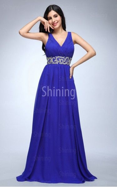 Royal Blue A-line Floor-length Shoulder Straps Dress