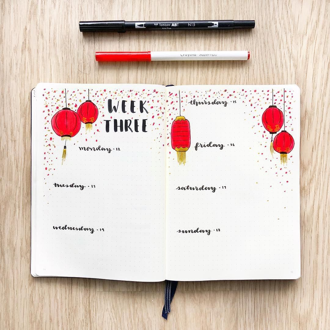 bullet journal weekly layout chinese new year bullet journal theme lantern drawing calligraphy daily headers motivattea