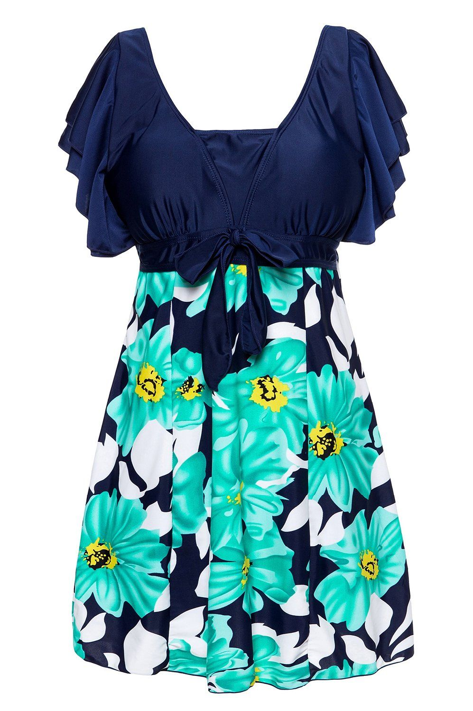 b36676bb596fc Wantdo Women s One-Piece Swimsuit Plus Size Swimwear Lace Up Swimdress   Amazon.co.uk  Sports   Outdoors