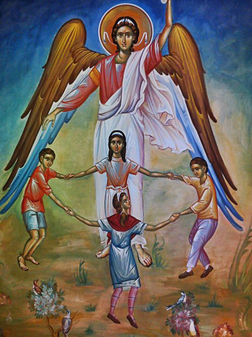 Christ is blessing the children  (an icon we often use in Orthodox Sunday Schools)
