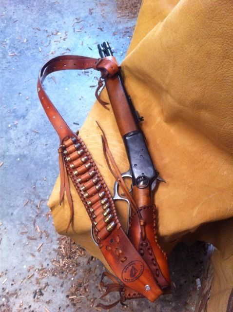 Leather Gunstock Cover Sling No Drill Henry Mares Leg Rossi Ranch
