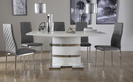 Komoro White High Gloss Dining Table With 4 Renzo Grey Chairs