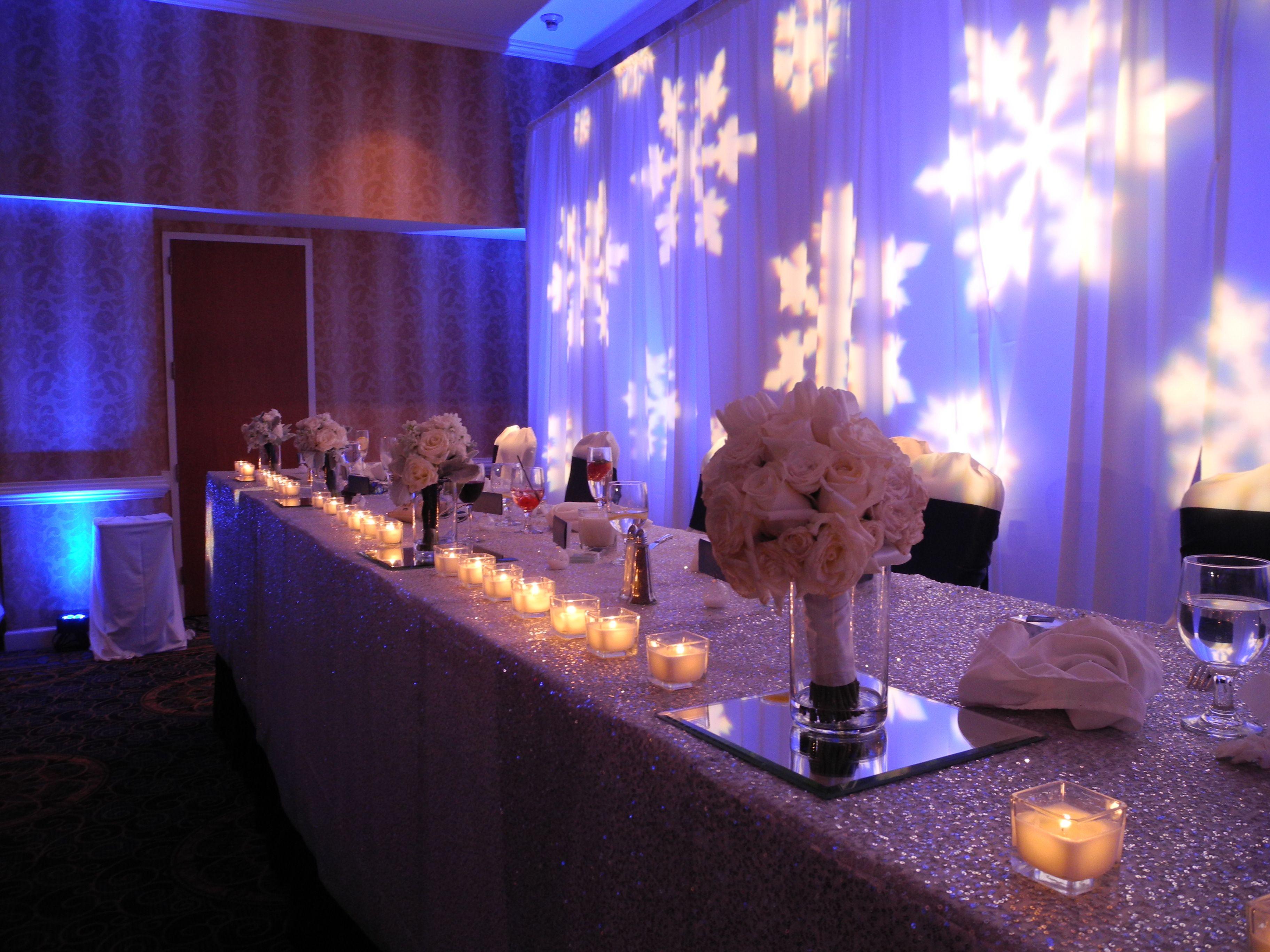 Head table for a winter wonderland wedding with snowflake gobo head table for a winter wonderland wedding with snowflake gobo backdrop a sequin linen junglespirit Images