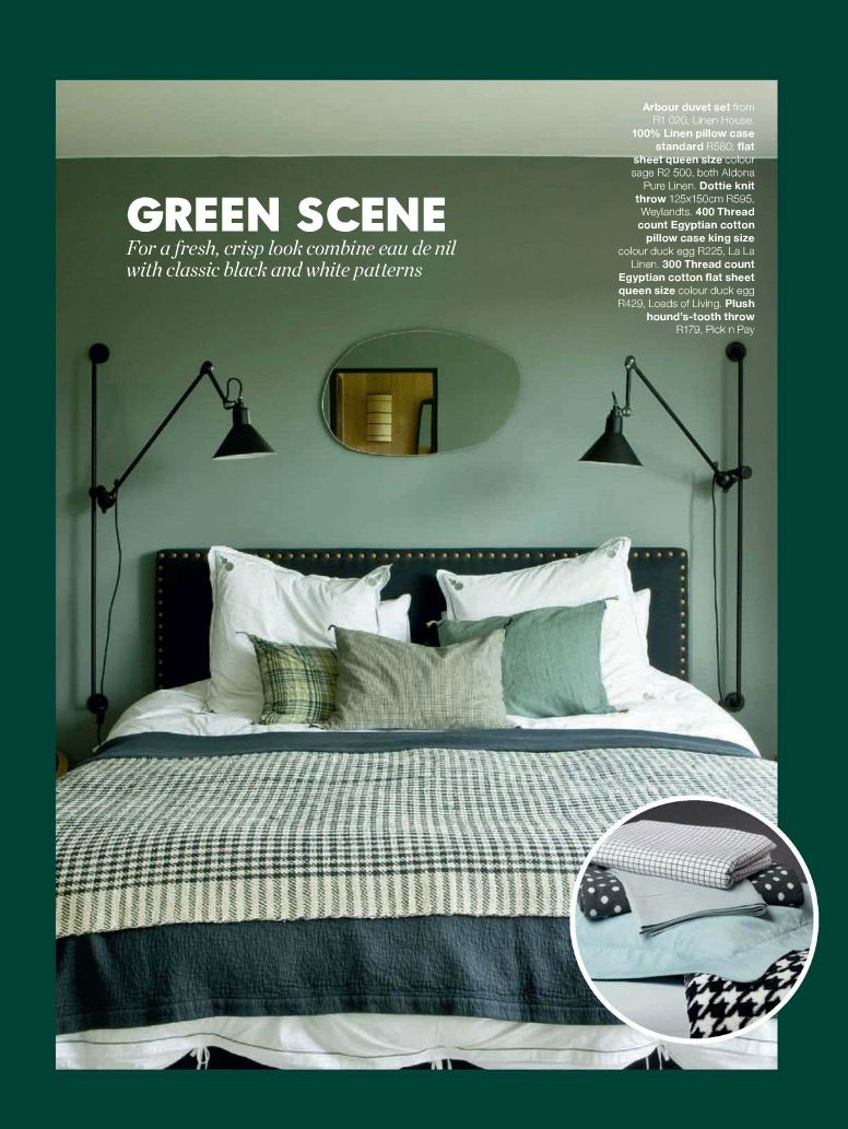 Bedroom Done In Shades Of Jade Green