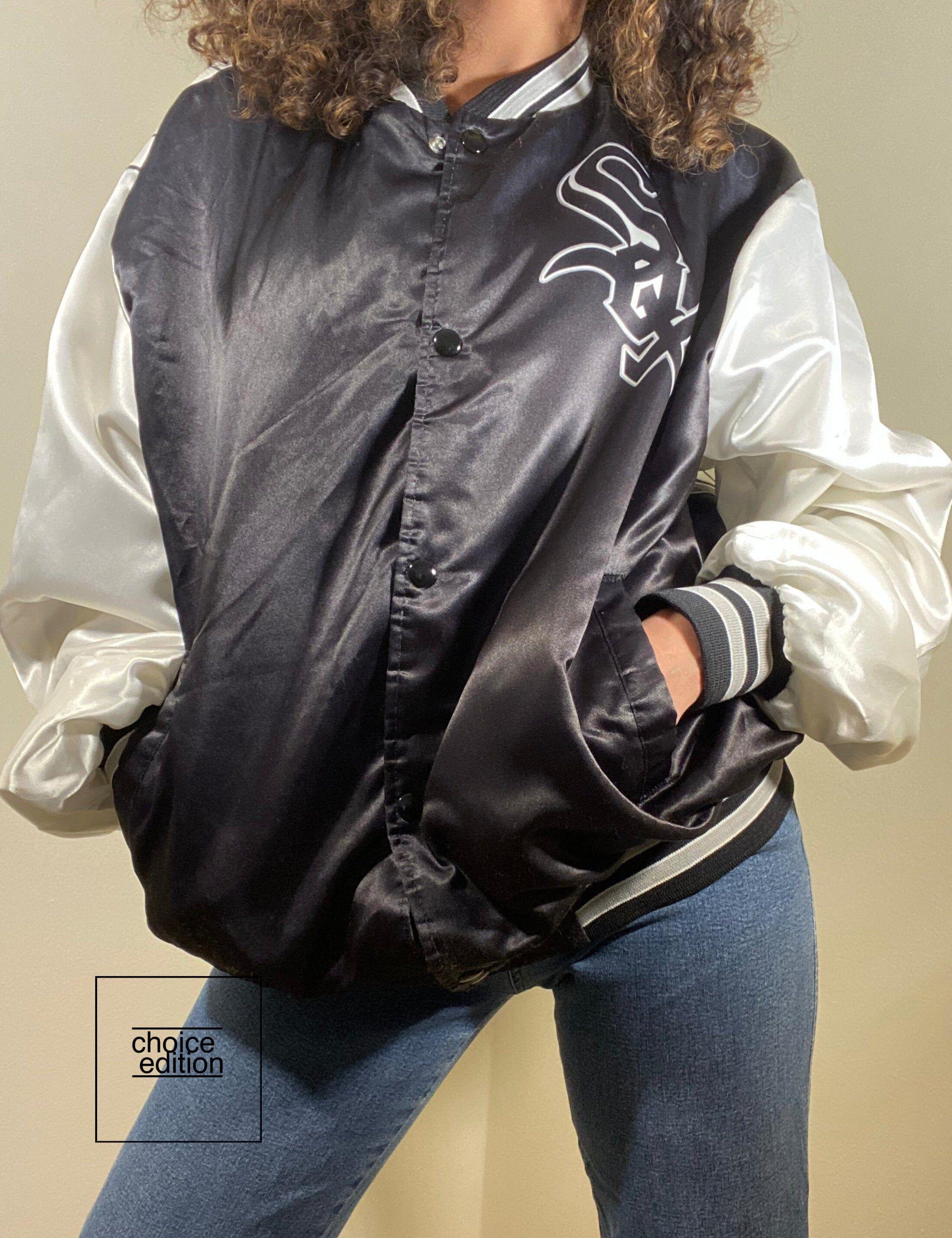 Vintage 90s Satin White Sox Chicago Bomber Jacket Made In Usa Bomber Jacket Vintage Bomber Jacket Polo Jackets [ 2600 x 2000 Pixel ]