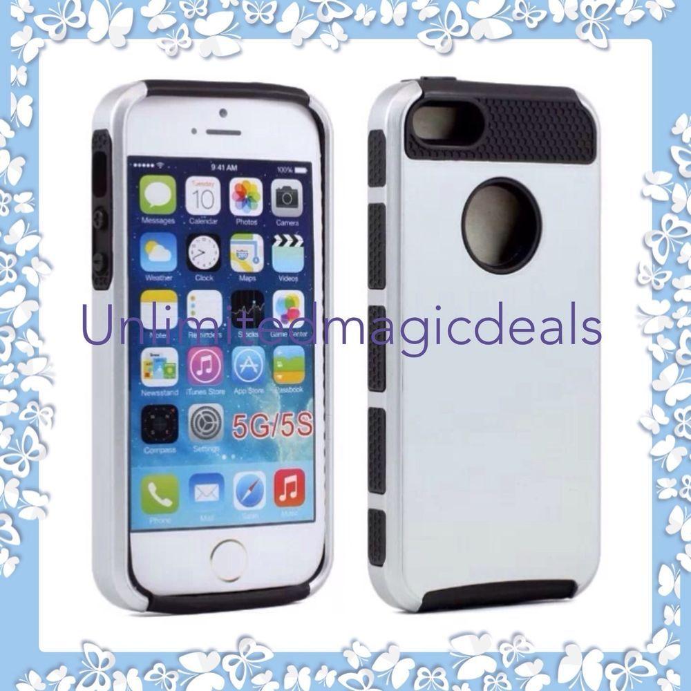 Dirt/Shockproof Slim Hybrid Armor Defender Case Cover for iPhone 5 5s - Silver #Unbranded