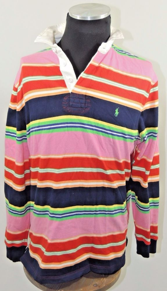 b95d44f89da POLO RALPH LAUREN VINTAGE LONG SLEEVE PINK RED GREEN BLUE STRIPE RUGBY SHIRT  M | Clothing, Shoes & Accessories, Men's Clothing, Casual Shirts | eBay!