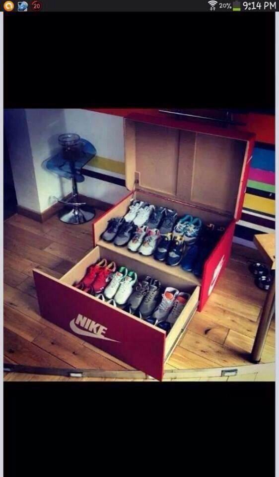 Nike Shoe Box Diy Crafts Pinterest Shoe Storage Shoes And