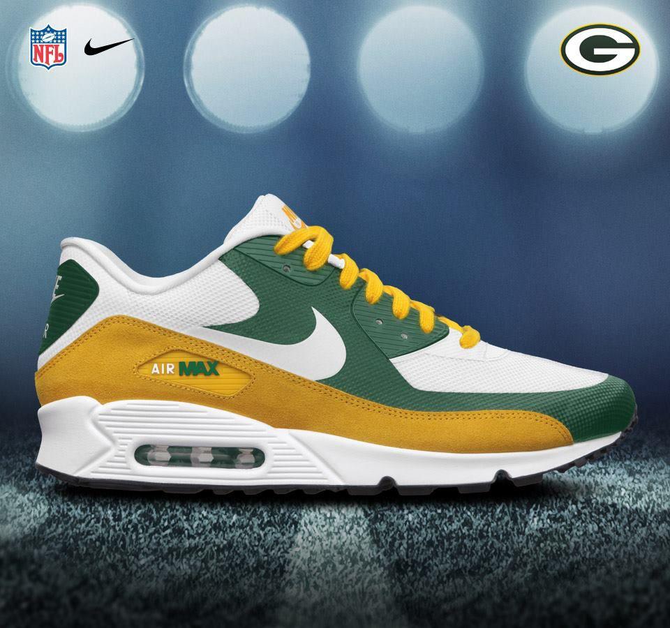 Green Bay Packers Airmax 90 Premium Nike Shoes Air Max Nike Air Max Green Bay Packers