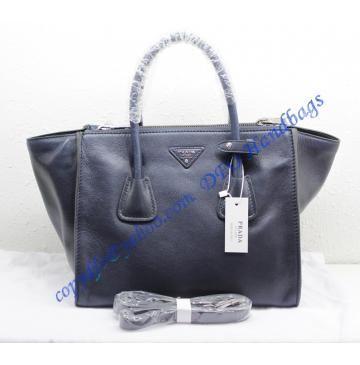 1ed2811551 Prada Saffiano Double-Zip Tote P2619 dark blue in 2019