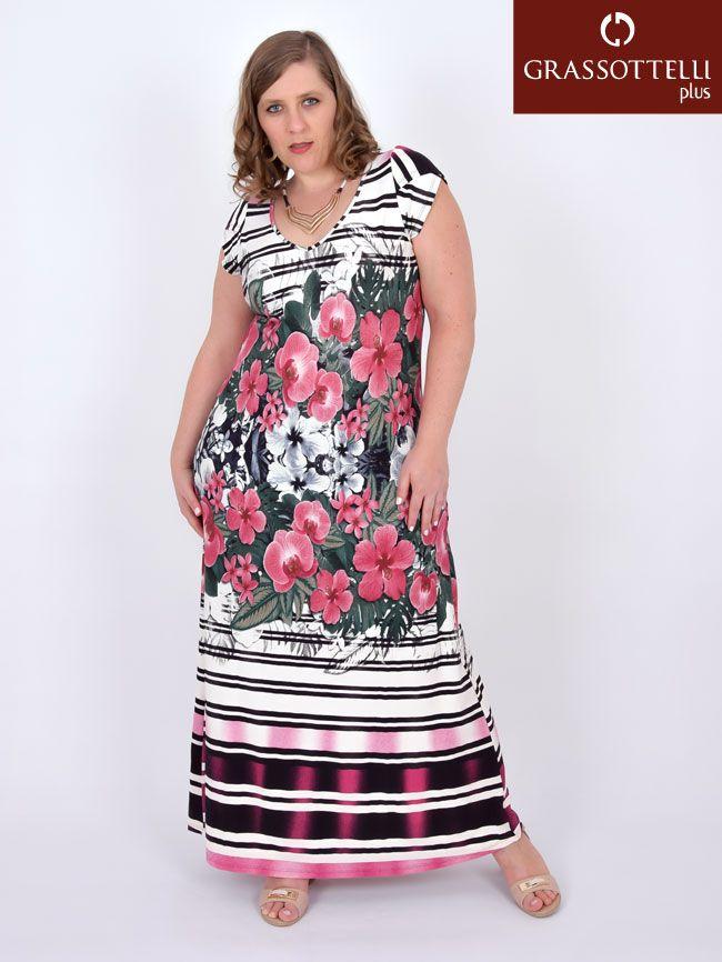 8402744a7 Vestido Longo Manga Curta Viscolycra Estampado Plus Size - Arruaça