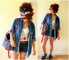 Primark Denim Shirt, Spain Ladybird Vest, Charity Shop Blue Checked Shirt, Polka Dot Bag, Nike 6.0's, Primark Sailor Scarf - Breaking Open Skies And Green Earths, Around Them We Float.. - Kariss Young
