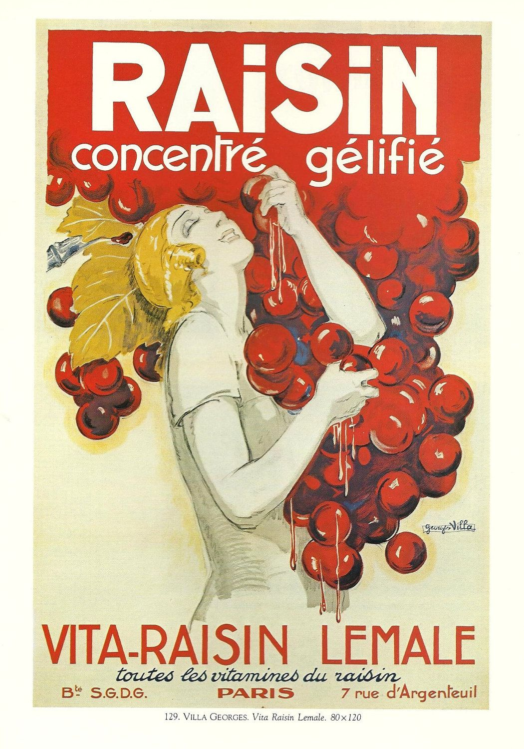 Vintage French Wine Advertisement Poster Red Bunch Of Grapes