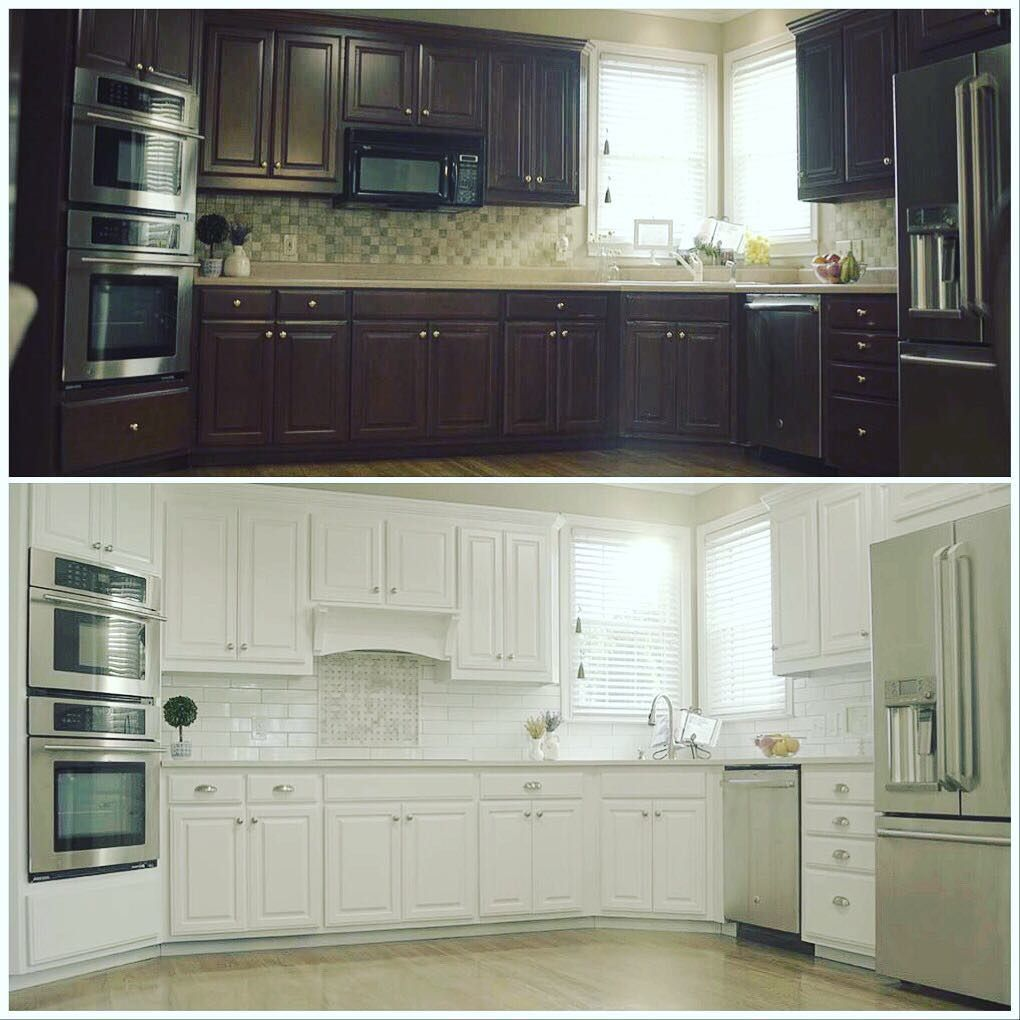 A Color Change From Dark To White Really Helped To Brighten Up This Kitchen Let N Hance Help You Brigh In 2020 Kitchen Remodel Kitchen Renovation Refinishing Cabinets