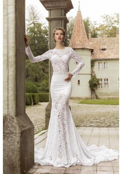 Long sleeve o neck lace trumpet mermaid wedding dress for Long sleeve turtleneck wedding dress
