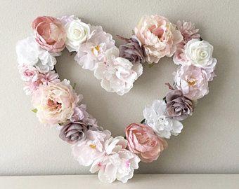 Heart Decor, Floral Heart, Heart Wall Decor, Girl Room Decor,