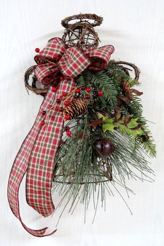 Primitive Christmas Angel Door Decor Or Tree By Floralsfromhome 65 00 Primitive Christmas Tree Grapevine Christmas Primitive Christmas